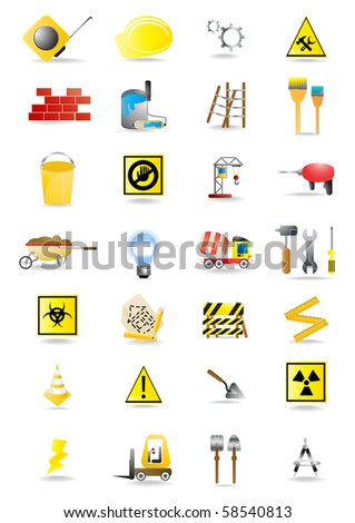 Vector collection of construction and building warning signs - stock vector