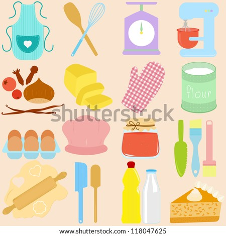 Vector Collection Of Cooking, Baking Tools In Pastel - 118047625