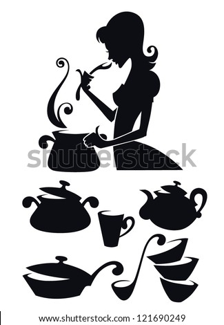 vector collection of cooking equipment and food symbols, and image of woman tasting homemade meal