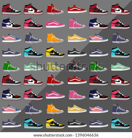 vector collection of cool sneakers, vans, air jordan, and converse