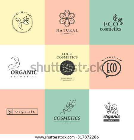 Vector collection of cosmetics logo identity templates. Natural and eco product label. Organic cosmetics and health care insignia. Fashion cosmetic brand.