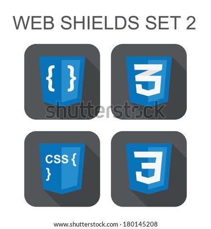vector collection of css web development shield signs: css3, style code, curves. isolated icons on white background
