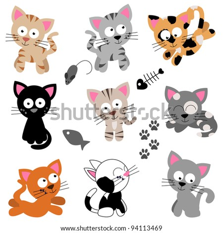 Vector Collection of Cute Cartoon Cats