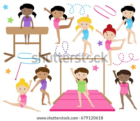 Vector Collection of Cute Female Gymnasts or Dancers of Different Ethnicities