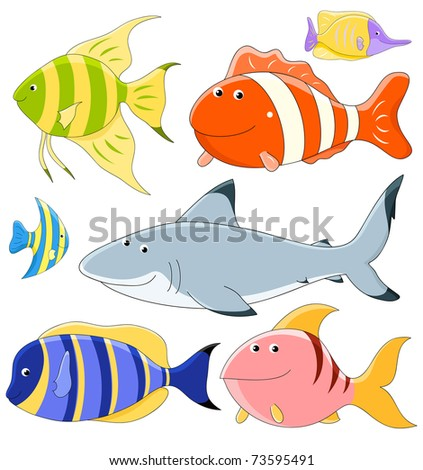 Vector collection of cute fish
