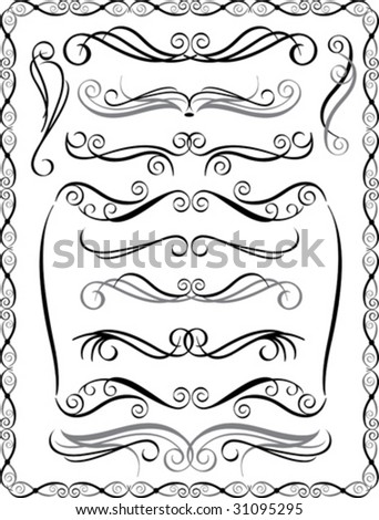 Vector collection #2 of decorative border elements.