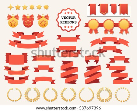 Vector collection of decorative design elements - ribbons, frames, stickers, labels. Illustrations of gift and accessory. Christmas decorations, banners and stickers.