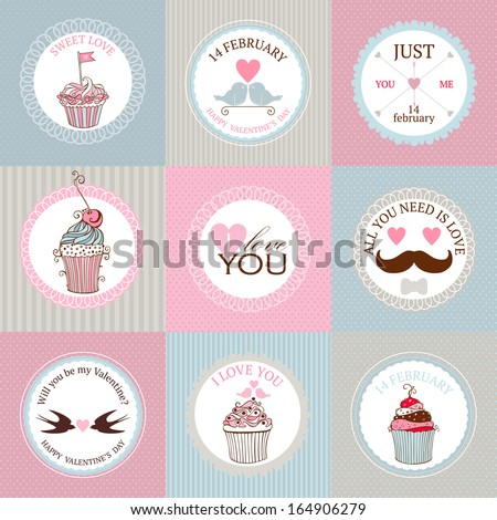 Vector collection of decorative hand drawn sweet cupcakes illustrations for valentines day design