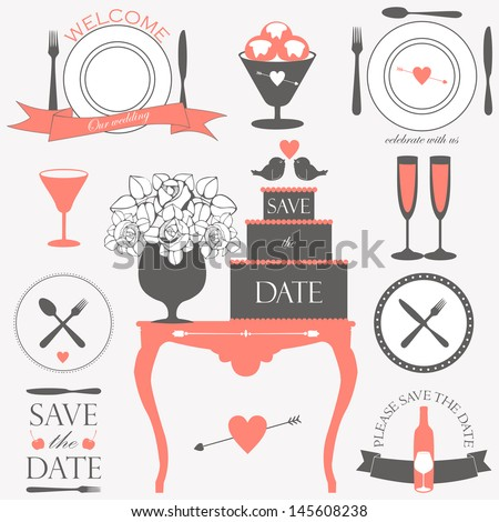 Vector collection of decorative wedding and dinner elements and signs