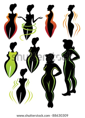 vector collection of diet silhouettes