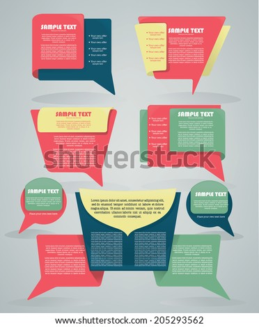 vector collection of different colorful web banners and text boxes, forms and frames