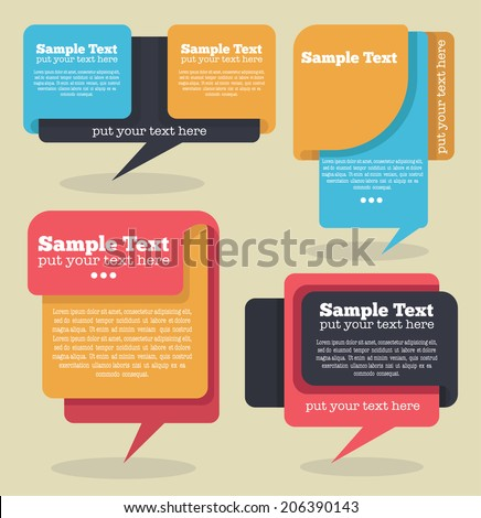 vector collection of different colorful web banners and text boxes, forms and frames in flat style