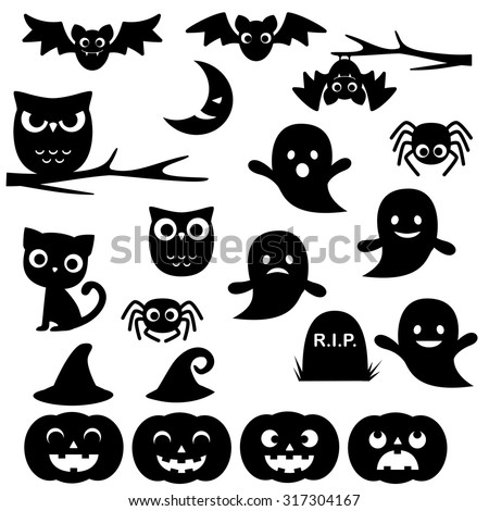 Vector collection of different cute black Halloween silhouettes