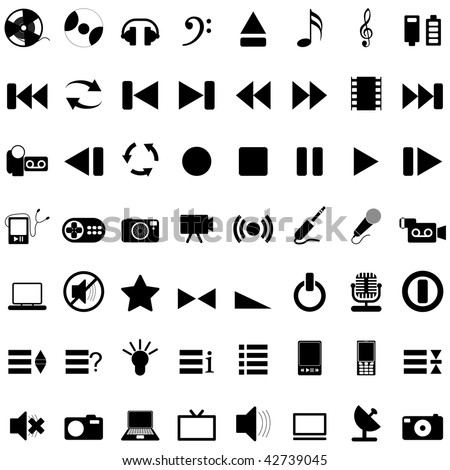 Vector collection of different music themes icons