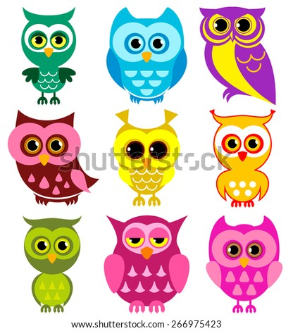 Vector Collection of Different Owls #266975423