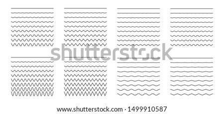 Vector collection of different thin line wave isolated on white background. Big set of wavy - curve and zig zag - criss cross horizontal lines. Graphic design elements variation solid line Foto d'archivio ©