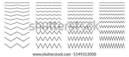 Vector collection of different thin line wide and narrow wavy line. Big set of wavy - curvy and zig zag - criss cross horizontal lines. Graphic design elements variation dotted line and solid line.