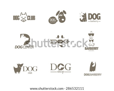 Vector collection of dog logo Logo for pet club or shop doggy center or barberry sport dog club veterinary clinic Cute dog icons set Flat logo design Also may be used for hunting club emblem