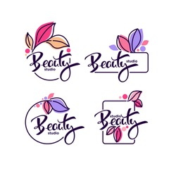 vector collection of doodle flowers emblems frames and logo with beauty studio lettering composition