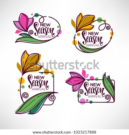 vector collection of doodle flowers emblems frames and logo with New Season Arrival lettering composition