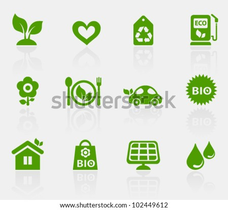 Vector collection of ecological icons, set 1. Image contains transparency effect in reflections and can be placed on every surface. EPS 10