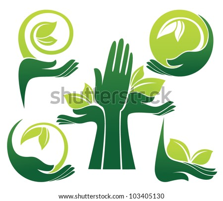 vector collection of ecological symbols and signs,human's hands and green growing plants
