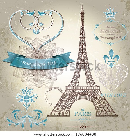 vector collection of eiffel...