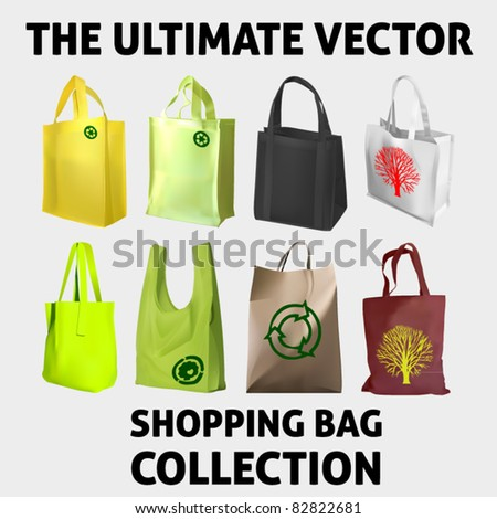 vector collection of eight shopping bags