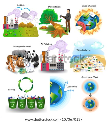 vector collection of environment problems like acid rain, deforestation, global warming, endangered animals, air pollution, water pollution, recycle, ozone hole, greenhouse effect