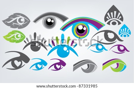 vector collection of eyes icons and symbols - stock vector