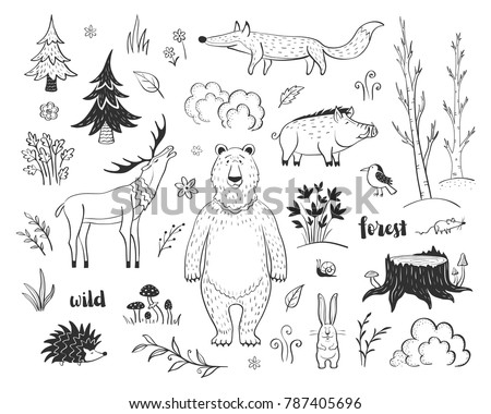 Vector collection of fairy forest with lovely forest animals and plant elements. Simple stylish graphics for children's design