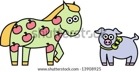 Vector collection of farm animals: horse, pig