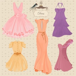 Vector collection of fashionable elegant dresses for girl