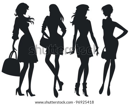 vector collection of fashionable girl silhouettes