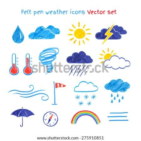 vector collection of felt pen