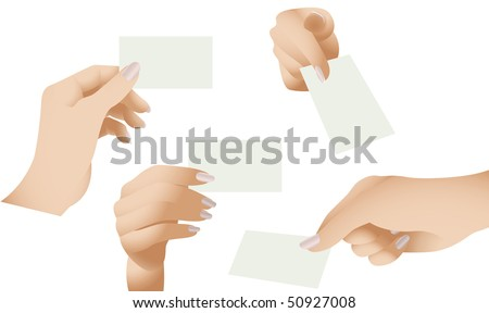 Vector Collection of Female Hands Holding Blank Cards