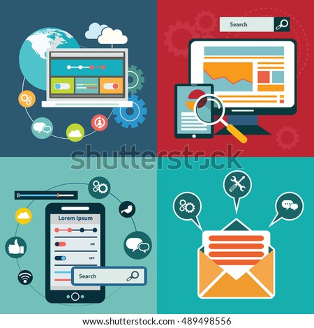 Vector collection of flat and colorful business, marketing and finance concepts. Design elements for web and mobile applications #489498556