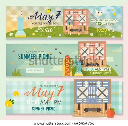vector set of icons for family picnic download free vector art