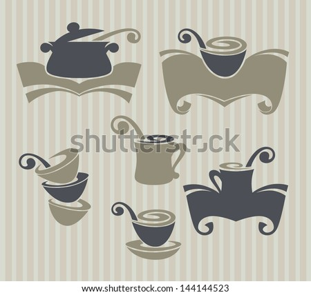 vector collection of food, dishes and cooking equipment