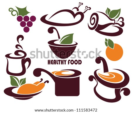 vector collection of  food symbols and layouts