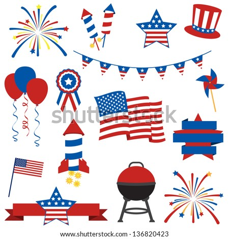 Vector Collection of Fourth of July Items