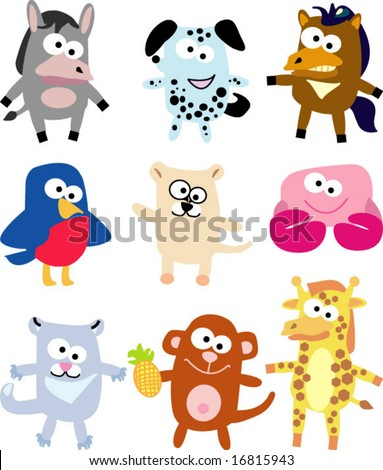 vector collection of funny animals 13 - stock vector