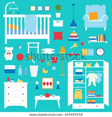 Vector collection of furniture and objects of nursery. Objects of baby room