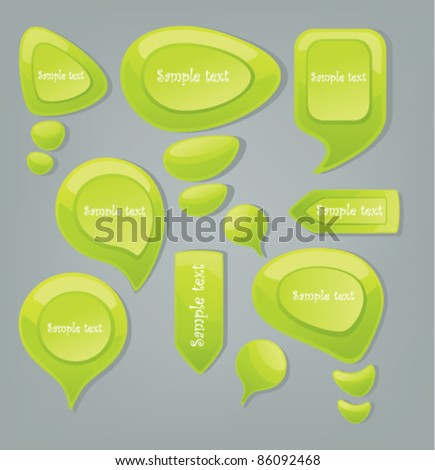 vector collection of glossy green speech bubbles