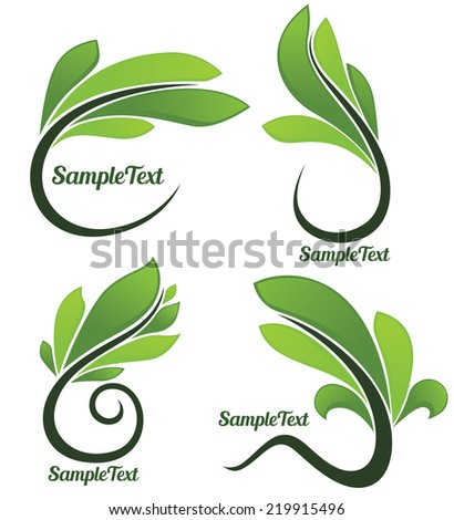 vector collection of glossy green spring leaf frames and symbols ...