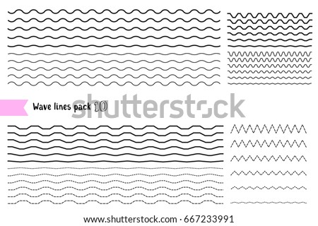 Vector collection of graphic design elements variation dotted line and solid line. Different thin line wide and narrow wavy line. Big set of wavy - curvy and zigzag - criss cross horizontal lines