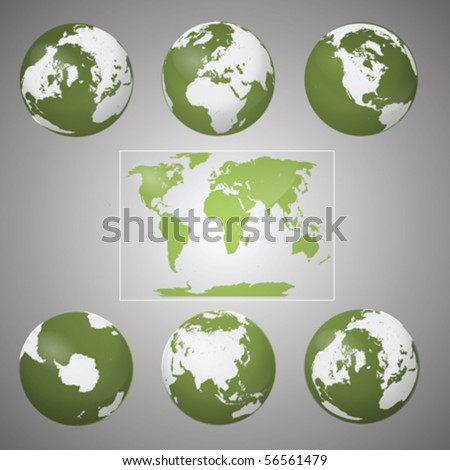 Vector Collection of Green Earth Globes on Grey Background