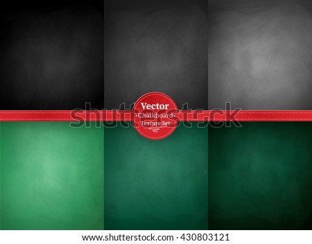 Vector collection of green, gray and black school chalkboard backgrounds.