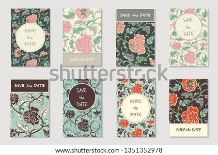 Vector collection of 8 greeting, invitation cards or flyers. Floral chinese hand drawn antique background in vintage style with flowers, design layout for decoration, cards, brochure etc.