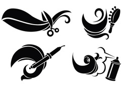vector collection of hairdresser equipment